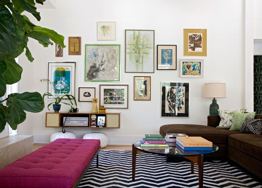 Gallery wall with art and nature themes