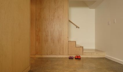 Downstairs basement of modern home with wood trim
