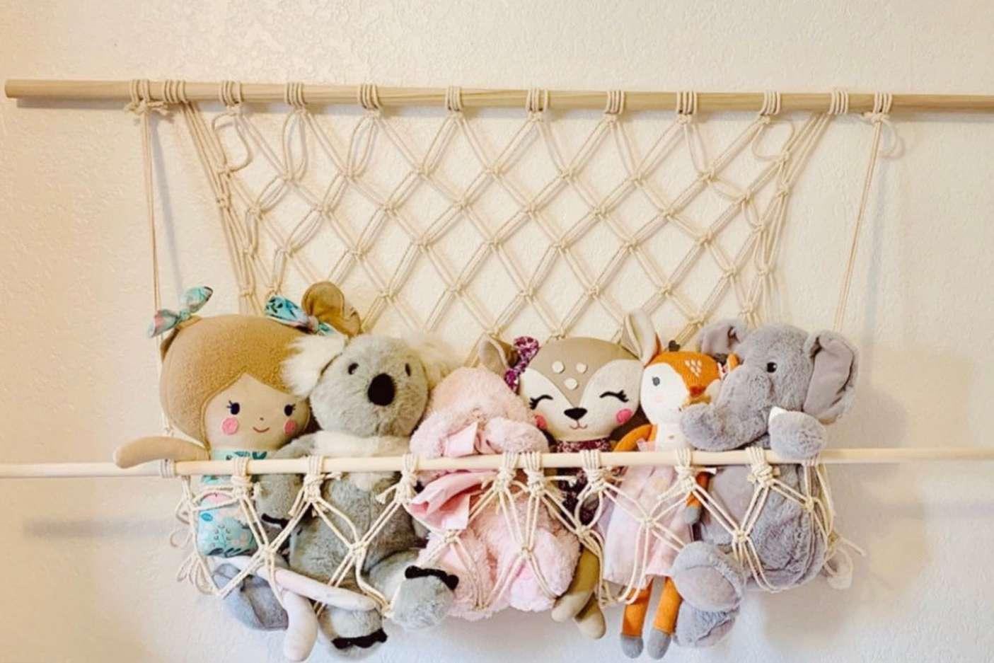 Wall hammock with stuffed animals