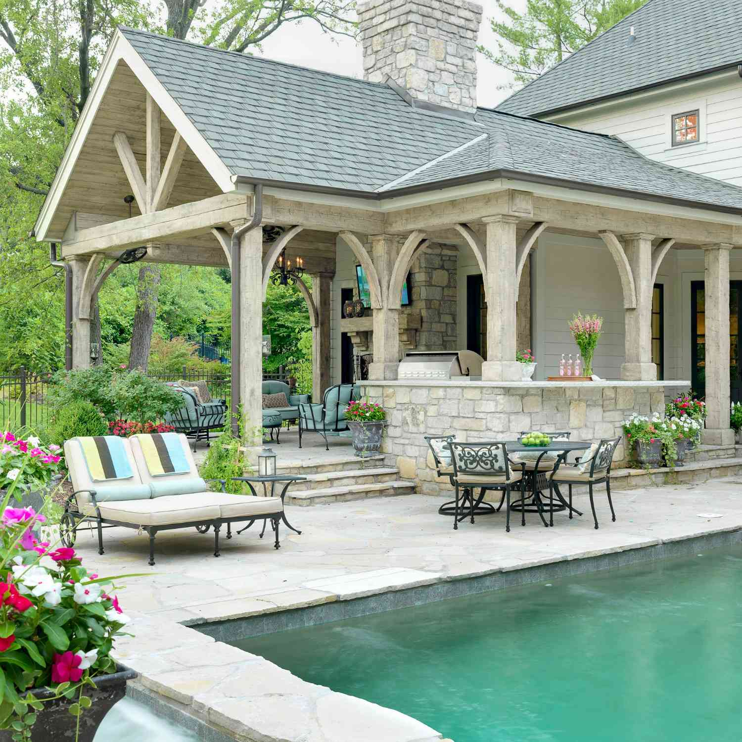 covered patio gabled roof near pool