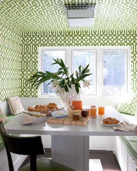 Patterned Wallpaper Breakfast Nook