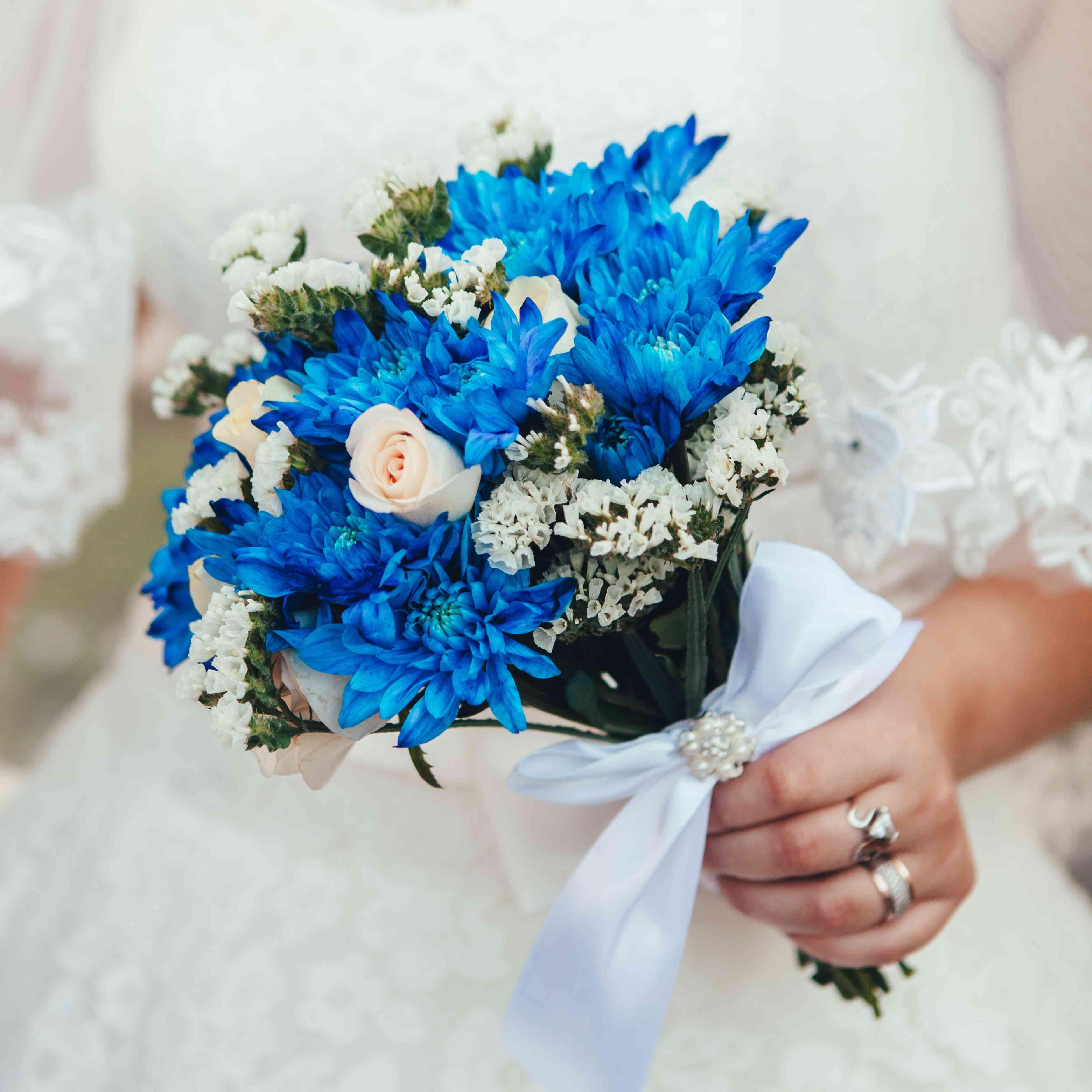 Blue Mum Bridal Bouquet
