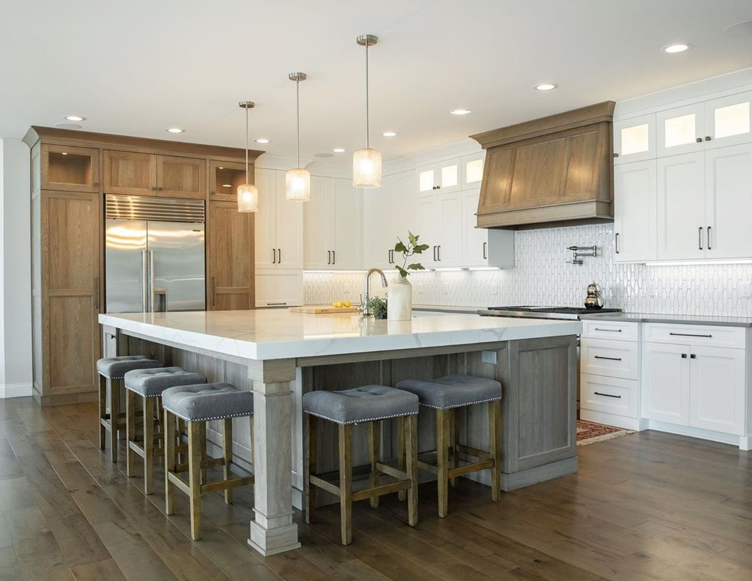 Kitchen with white and gray cabinets