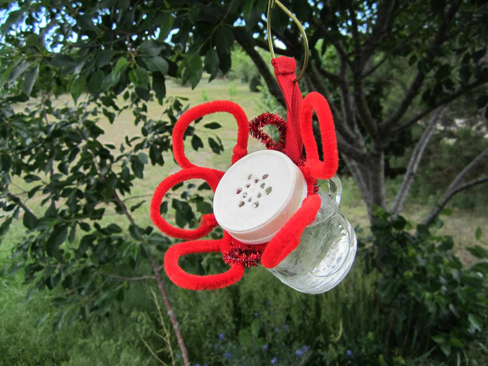 A small hummingbird feeder hanging from a tree