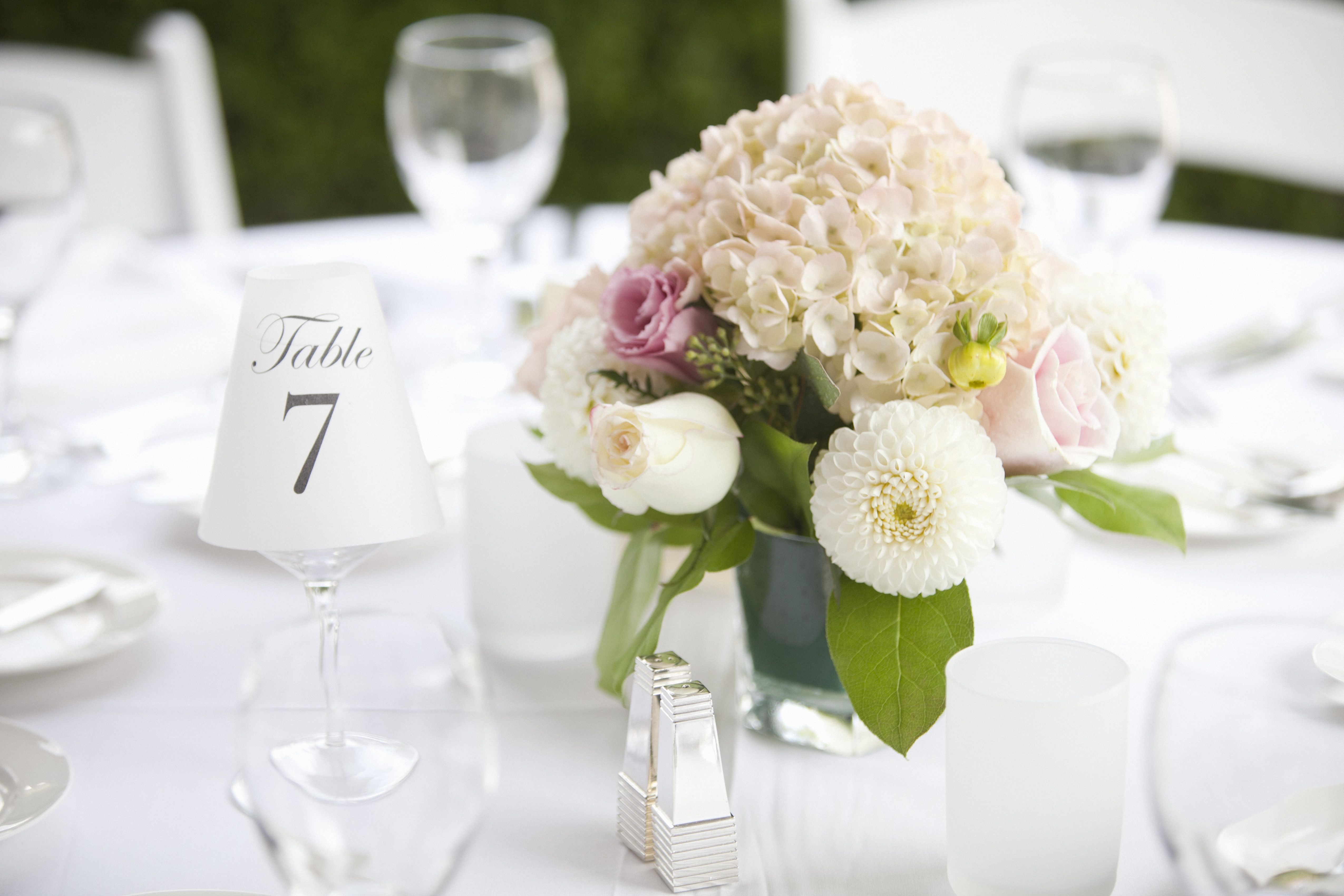 Centerpiece on table at wedding