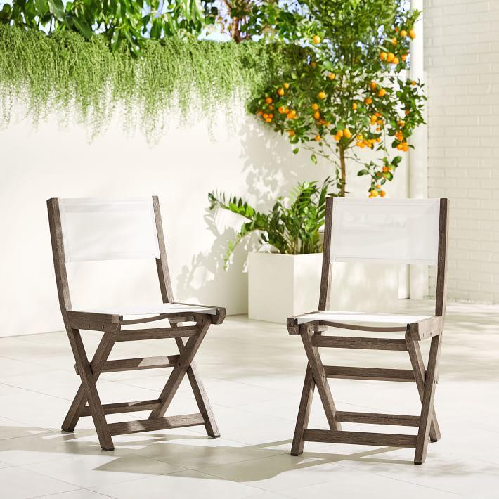 West Elm Portside Outdoor Folding Textilene Bistro Chairs