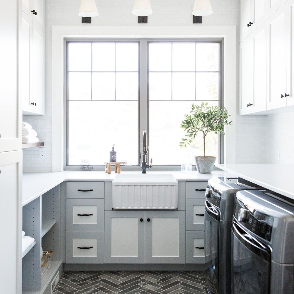 gray and white vintage inspired laundry room