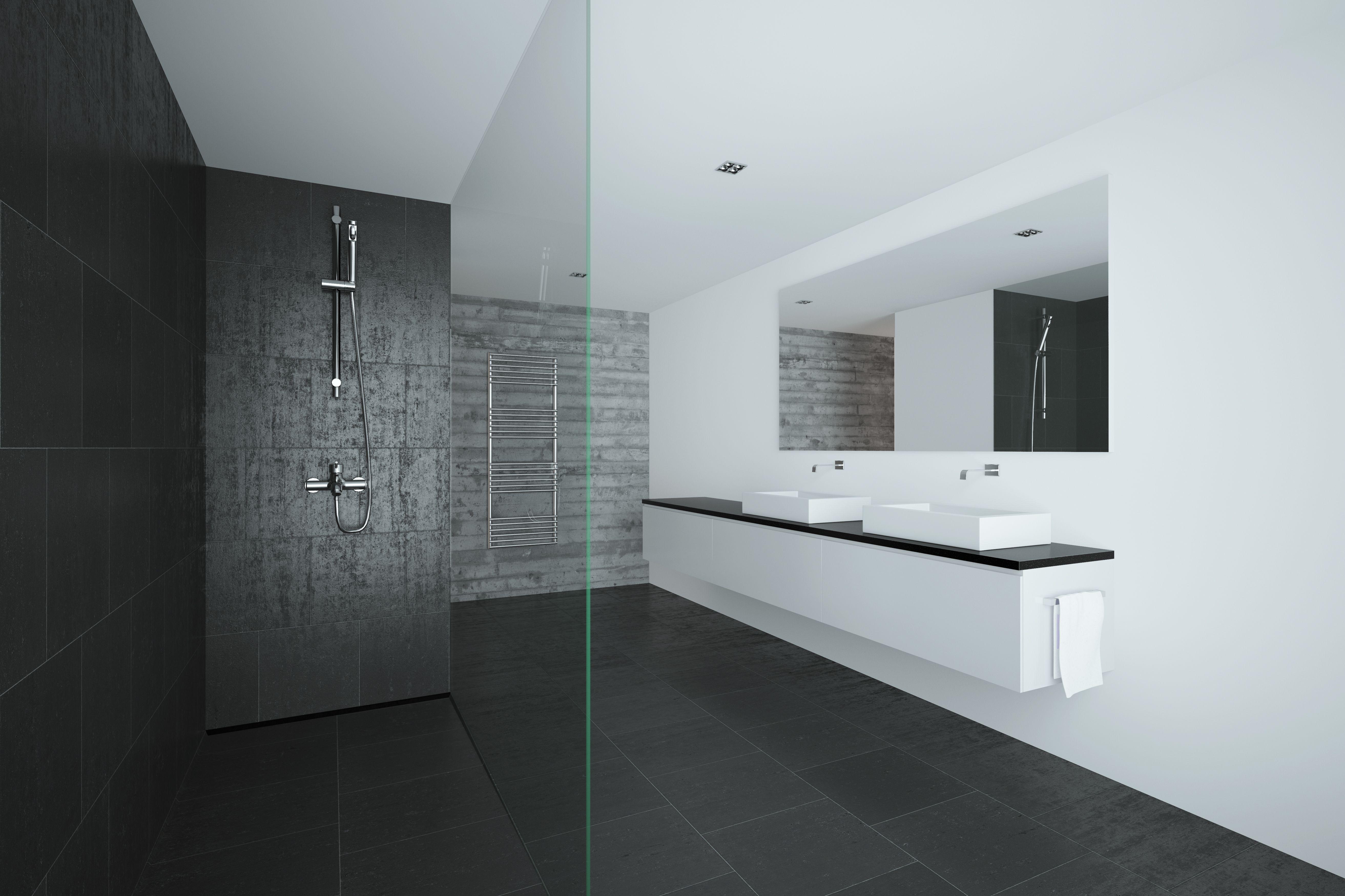 azulejo de baño gris moderno