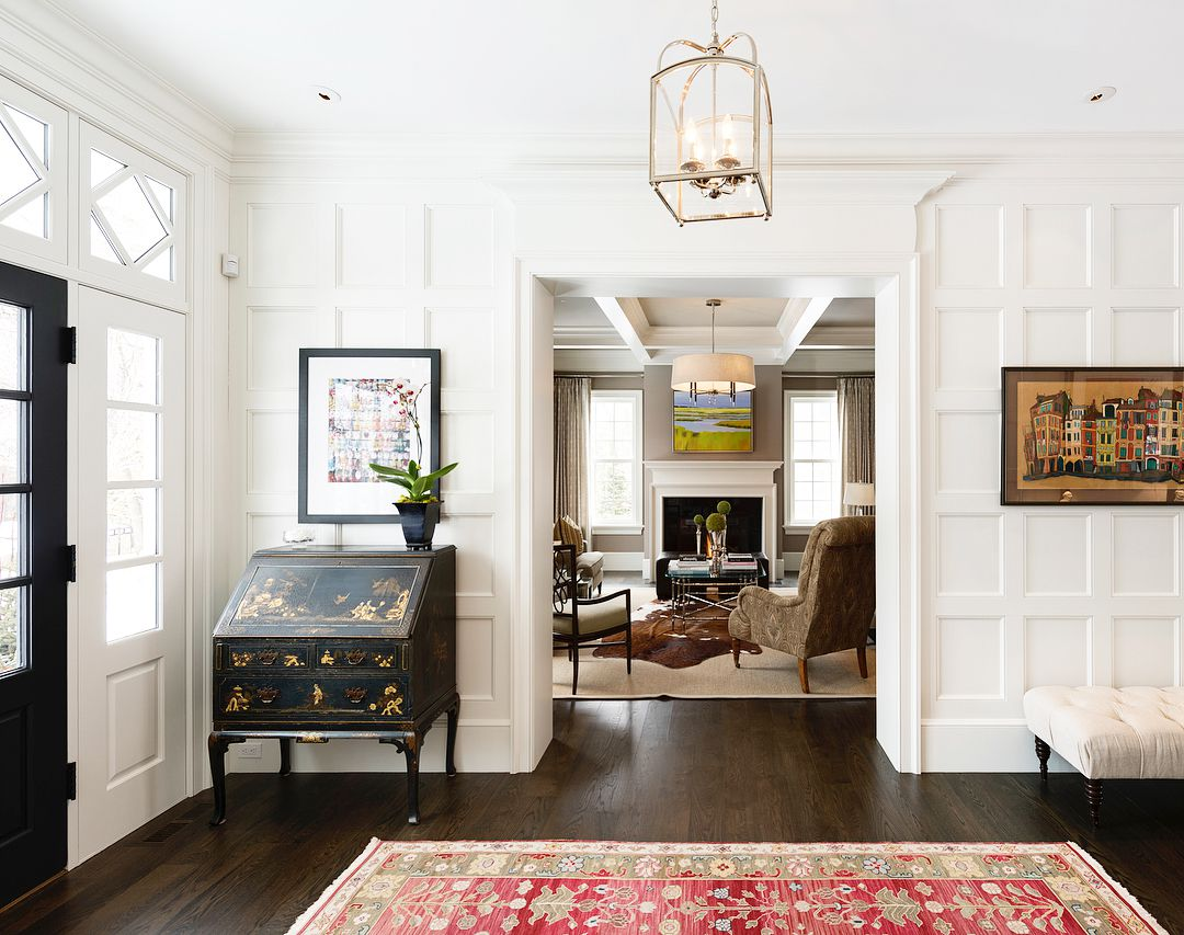 Entryway with red rug