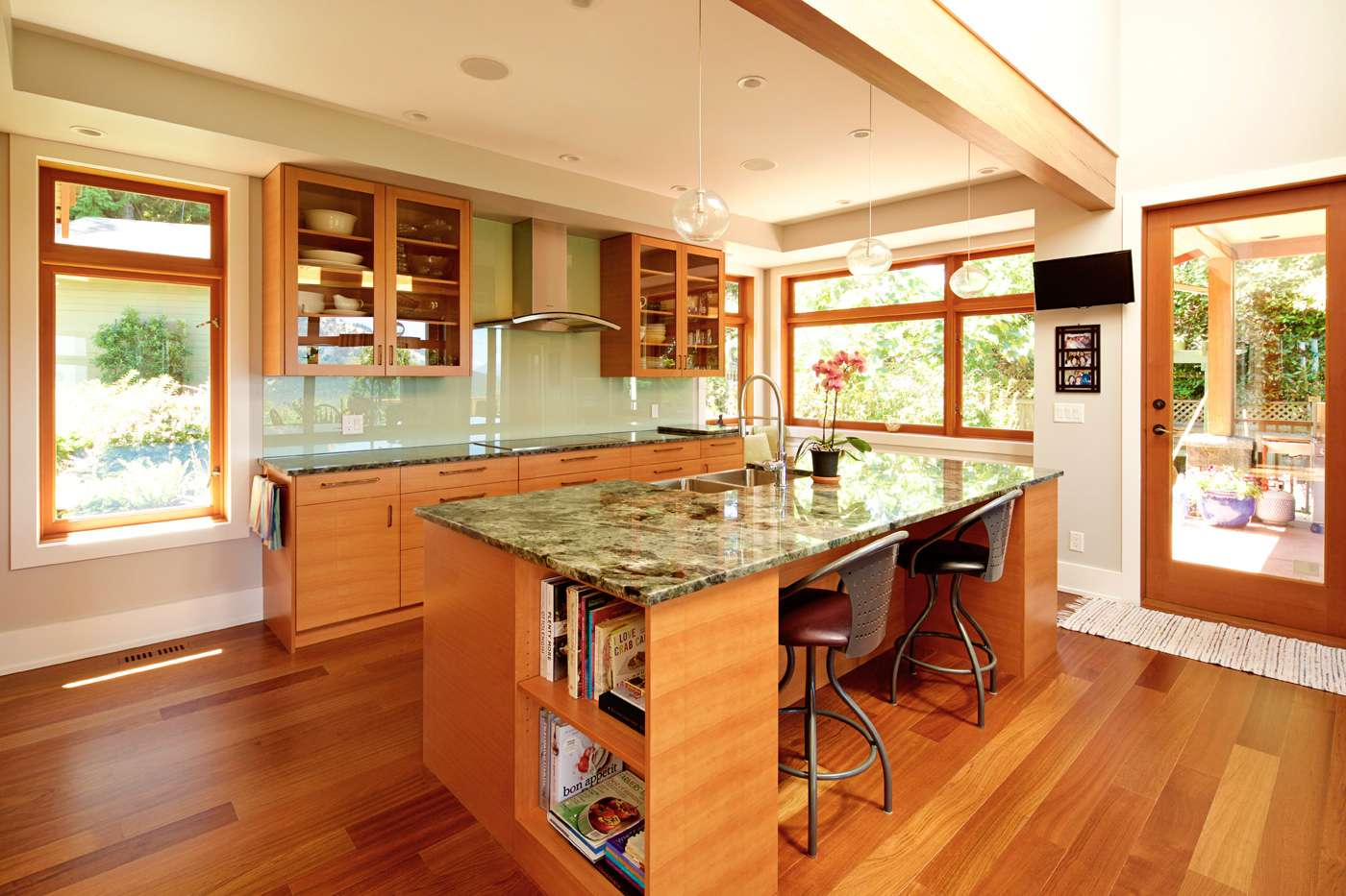 Warm wood and granite countertops