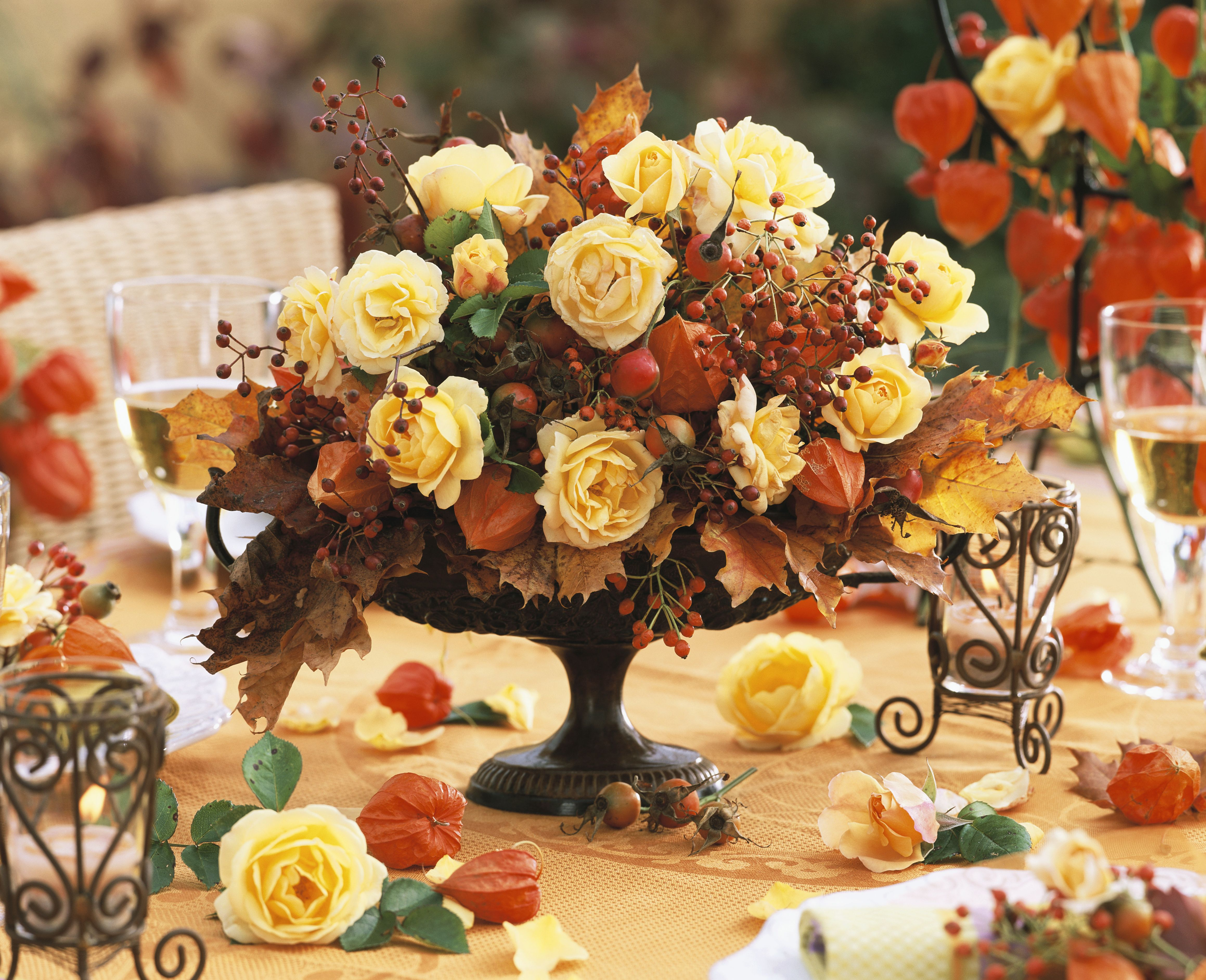 Yellow Roses and Rose Hips Autumn Arrangement