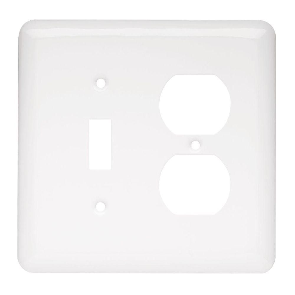 Two Gang White Metal Wall Outlet and Switch Plate Cover