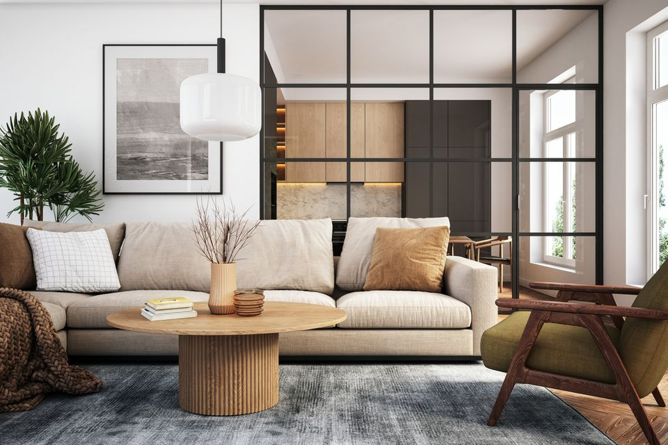 A well-designed living room sitting area