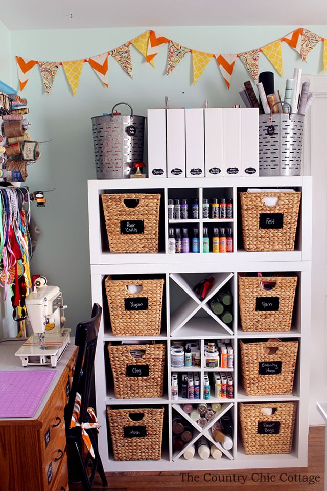 Craft room organization in wicker baskets