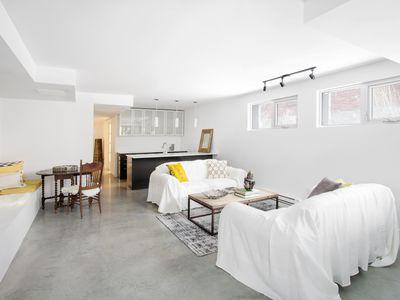 Remodeled Basement Living Room and Kitchen