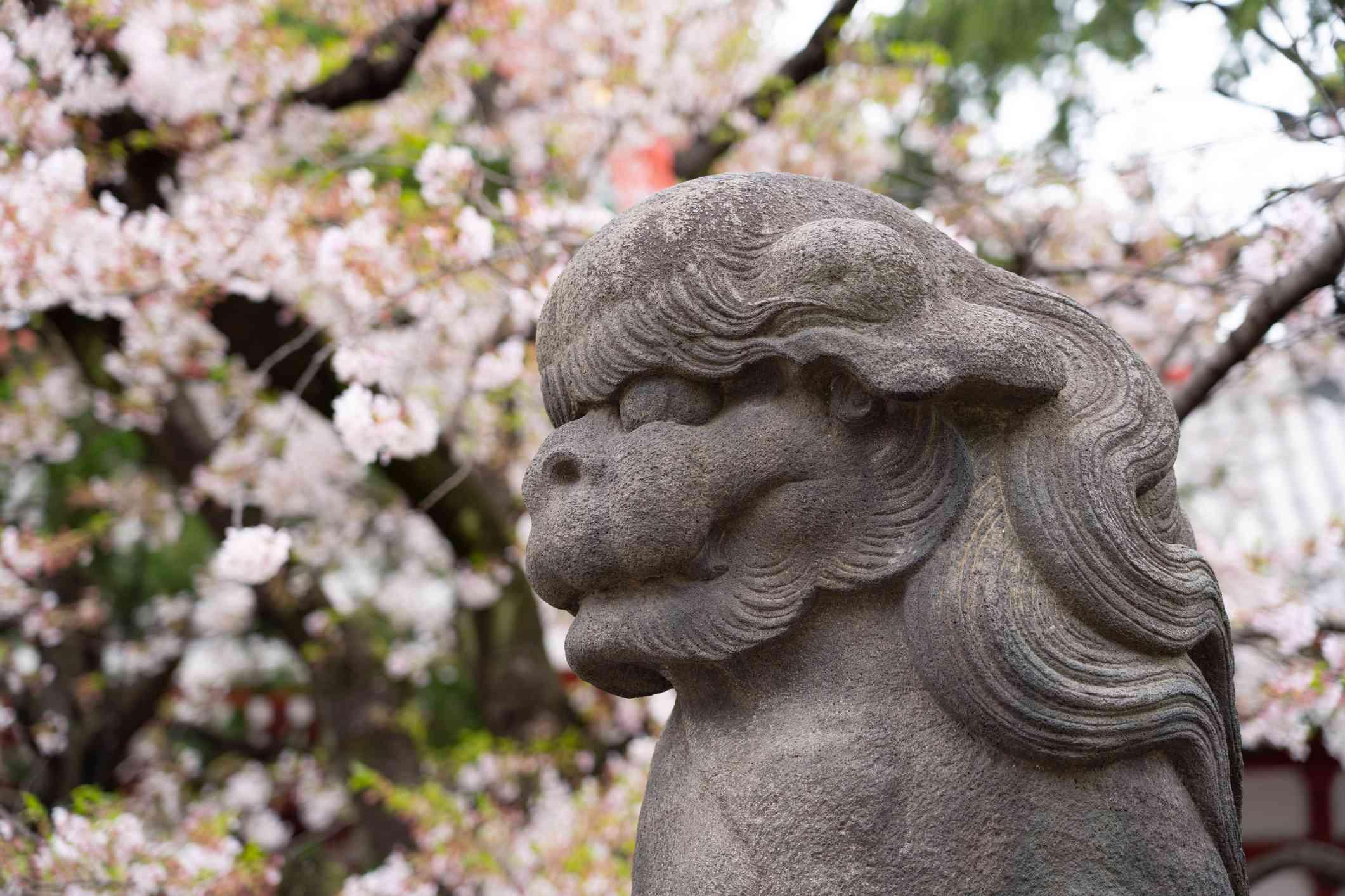 Japanese lion statue, Tokyo, Japan