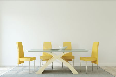 Gray Dining Room With Yellow Chairs