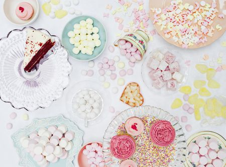 overhead shot of pastel colored desserts