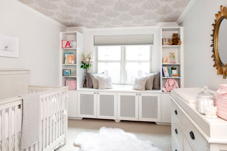 New York City Nursery With Ceiling Wallpaper