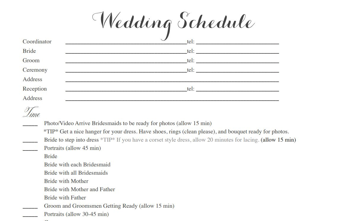 A Sample Wedding Itinerary Template