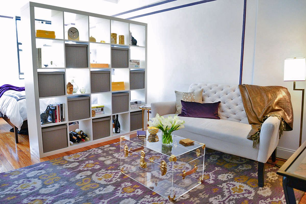 Image result for bookshelf studio apartment