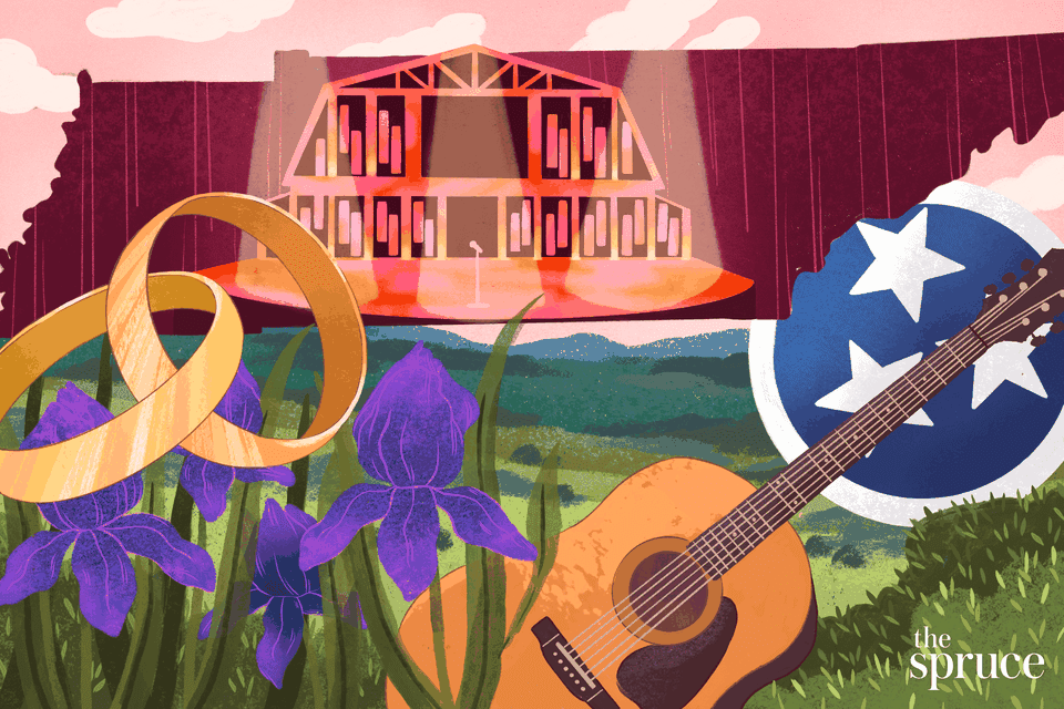 Illustration depicting wedding rings and iconic Tennessee landmarks