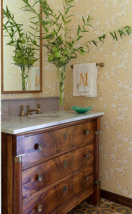 Art Deco Style Dresser Repurposed As Bathroom Vanity Collins Interiors