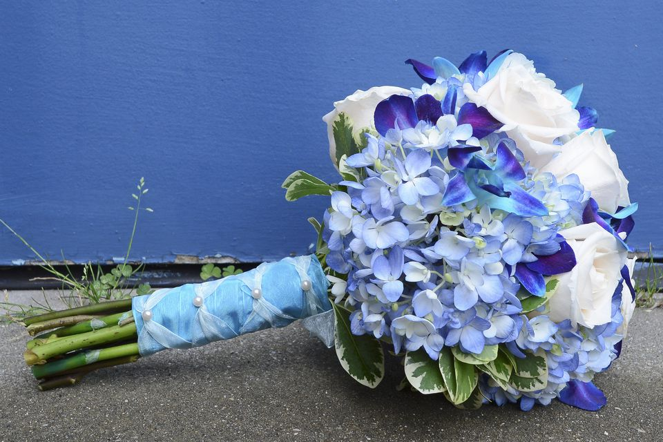 Closeup of a wedding bouquet in blues