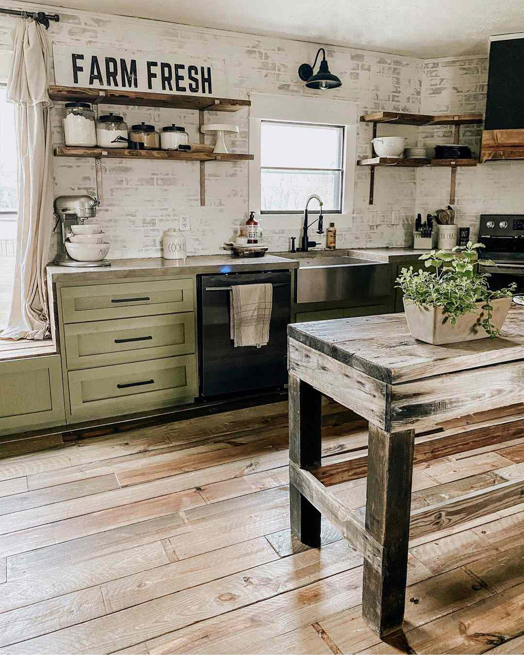 Antique kitchen with light green paint