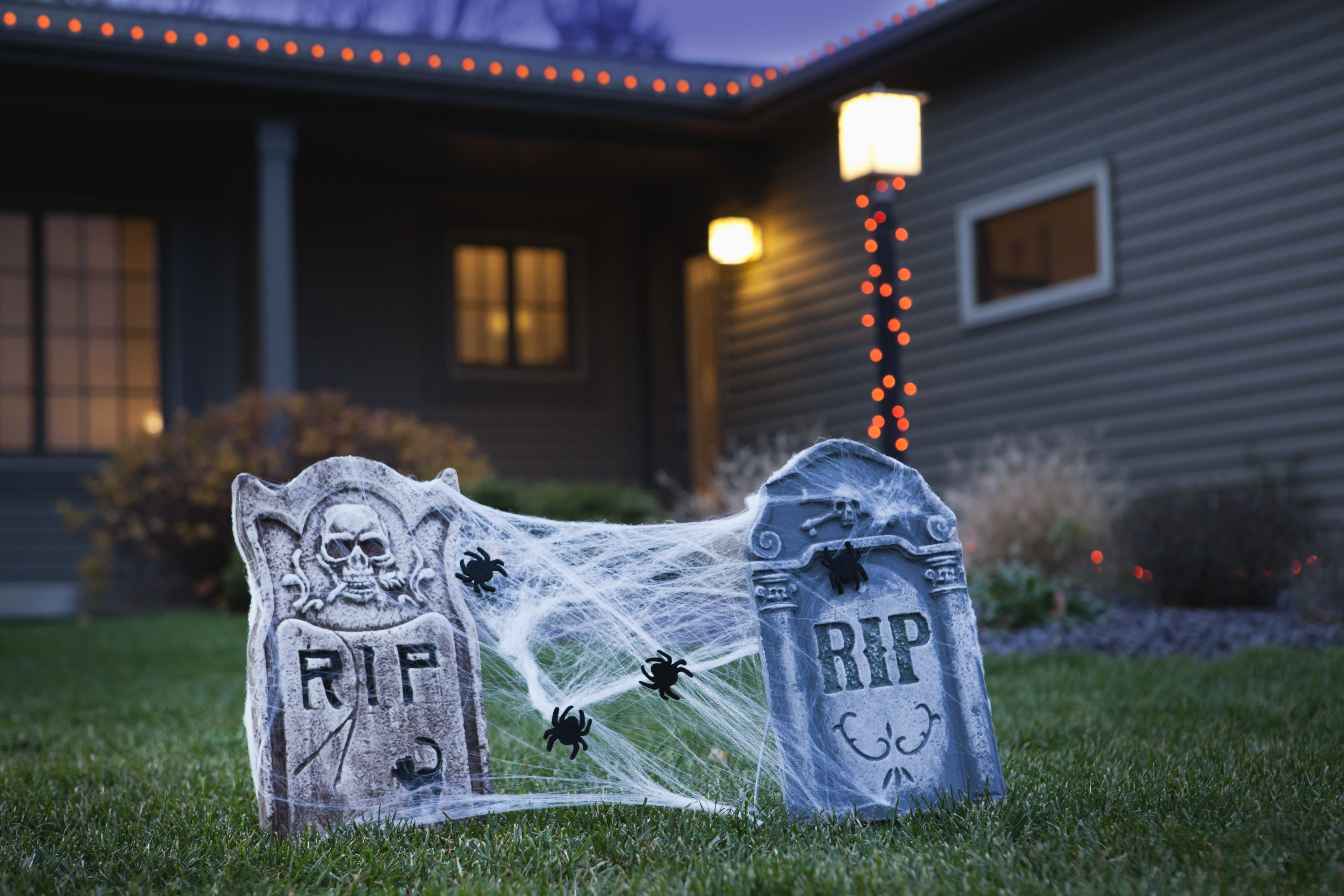 Halloween gravestone decoration on lawn