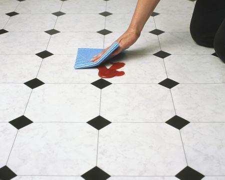 Green And Natural Linoleum Flooring