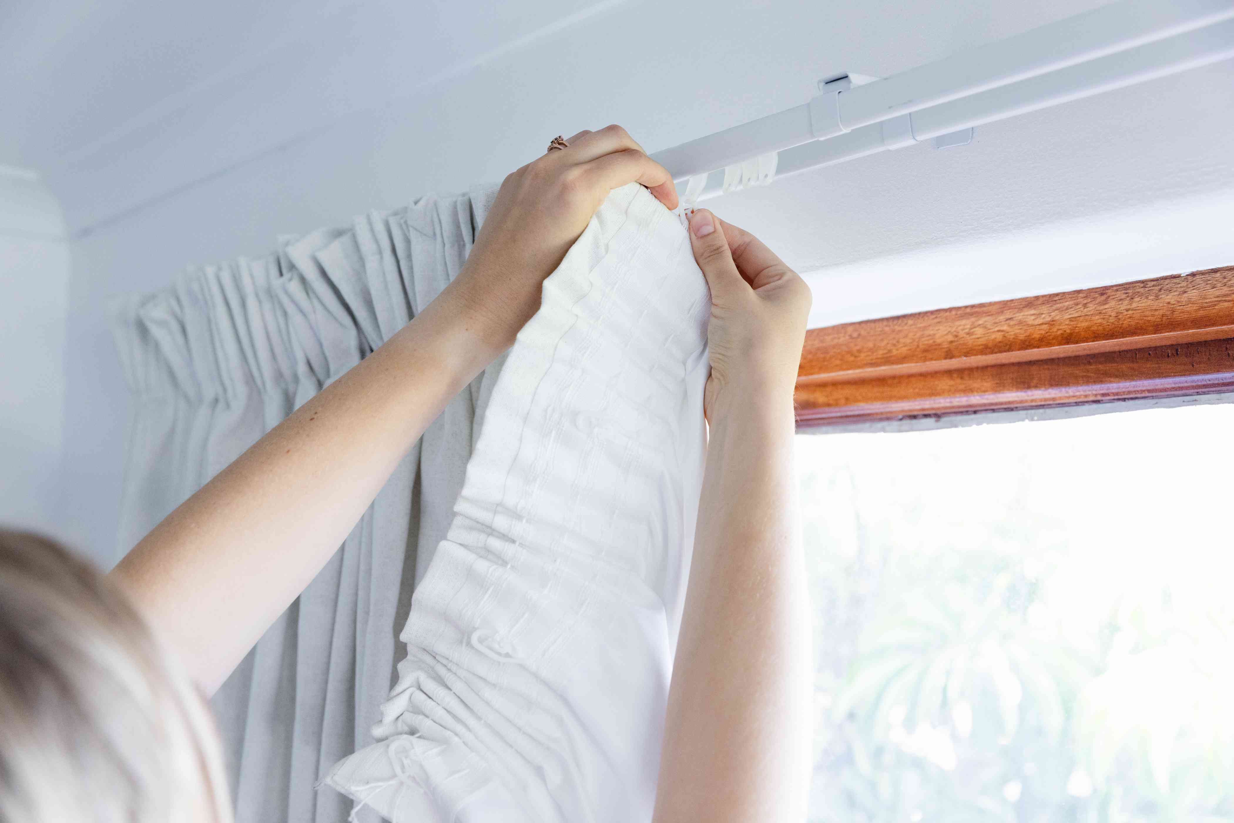 taking down curtains