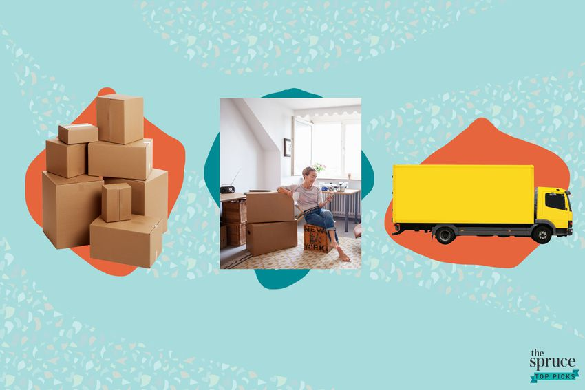 Photo composite of moving boxes, a woman sitting with moving boxes, and a moving truck.