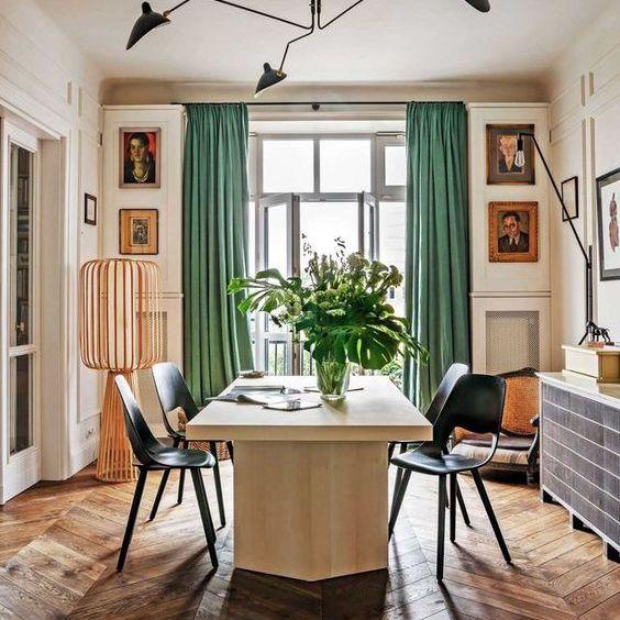 Herringbone Wood Floor Dining Room