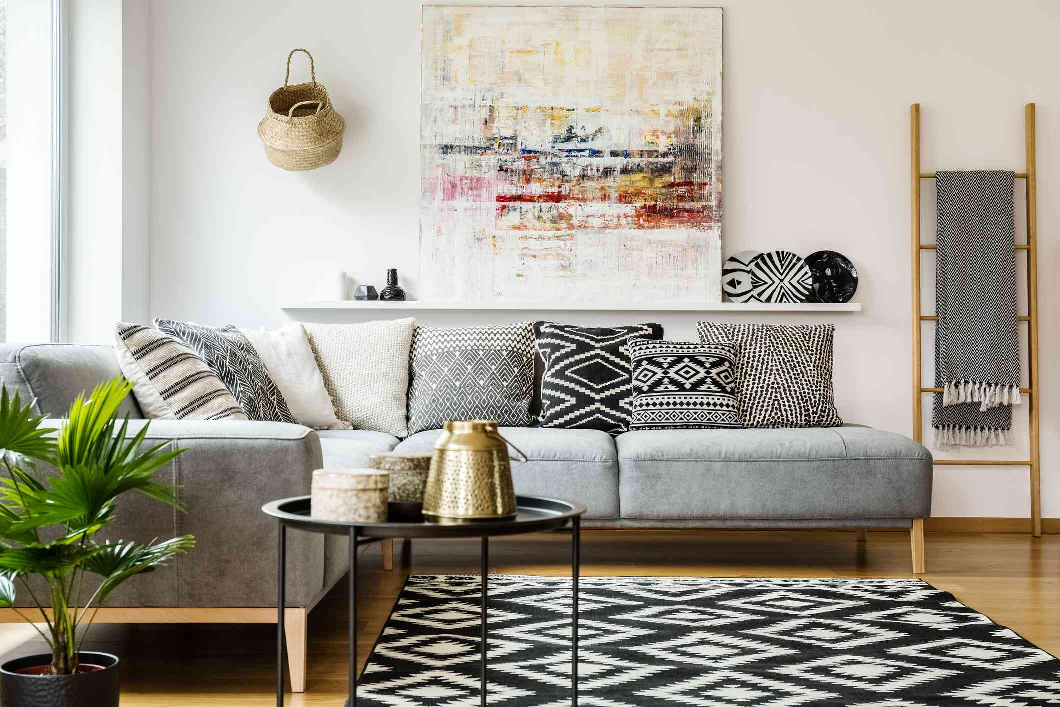 living room and sofa with black accents