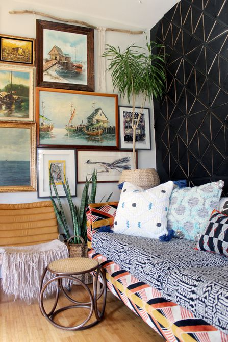 Eclectic patterned couch and throw pillows