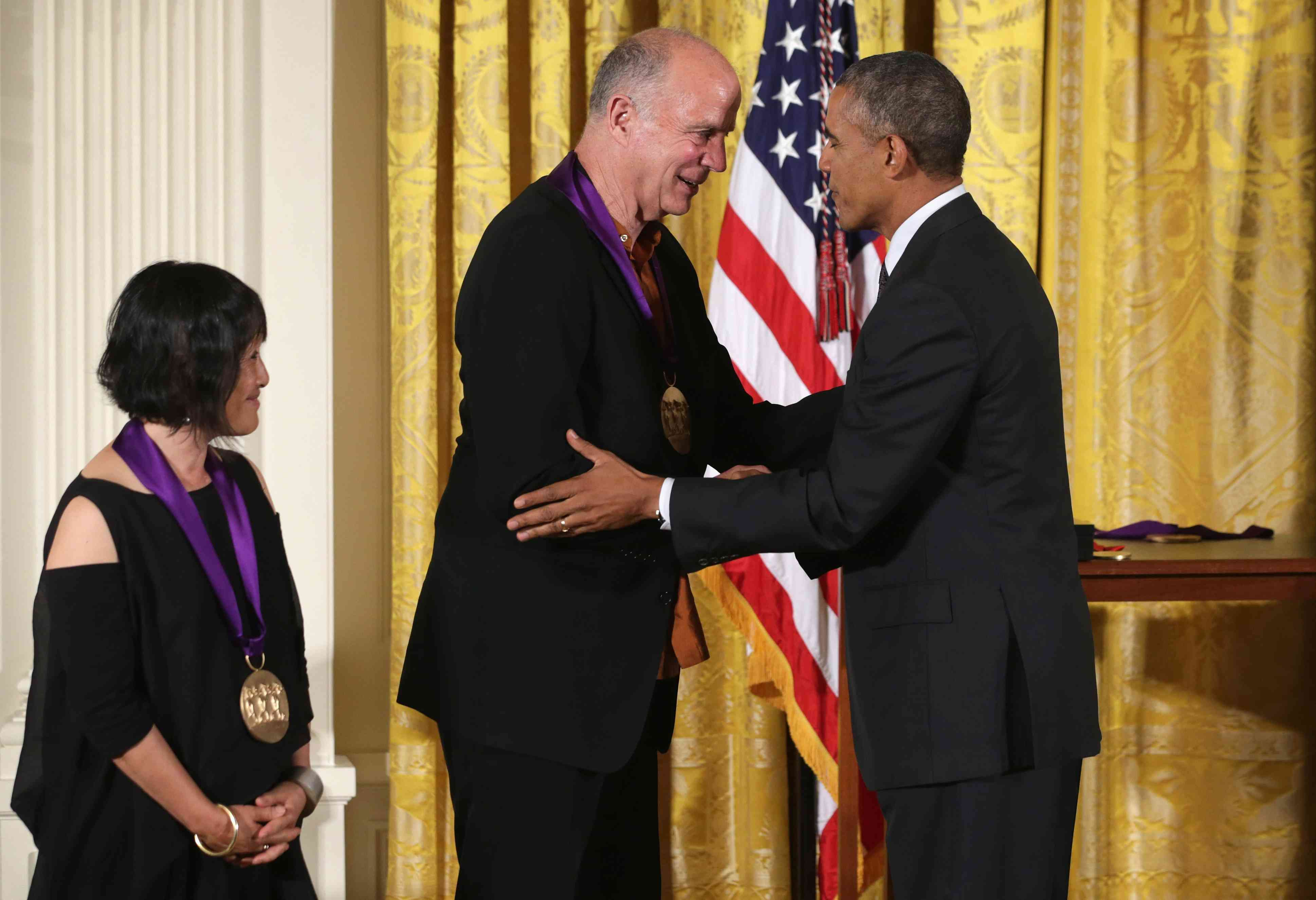 Obama awards 2013 National Medal Of Arts And National Humanities Medal to architect Billie Tsien (L) and Tod Williams (center).