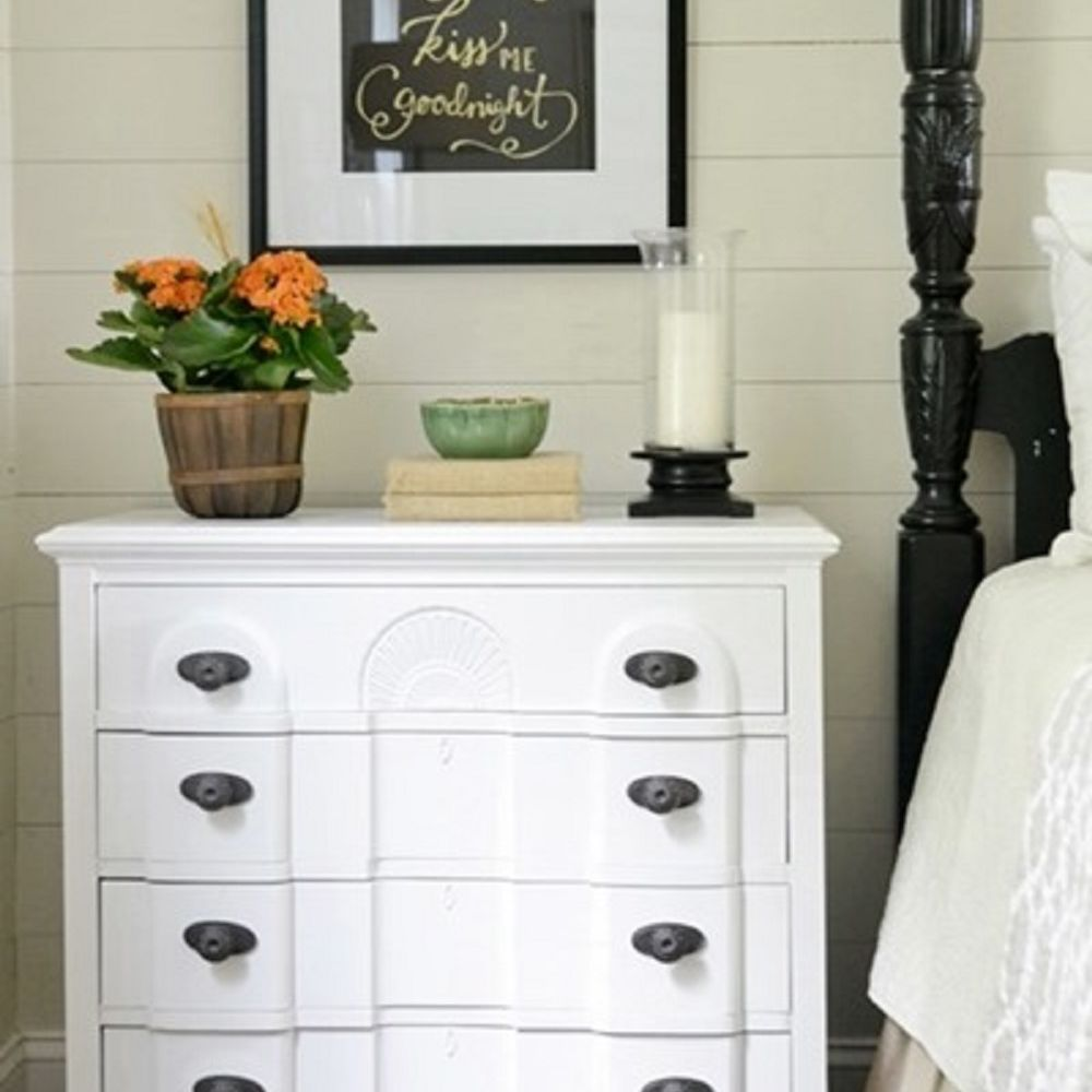 White bedside dresser
