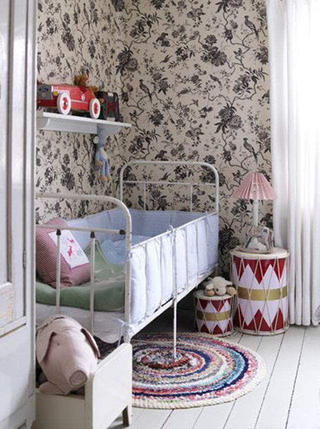 Simple nursery with French Country wallpaper in black and white