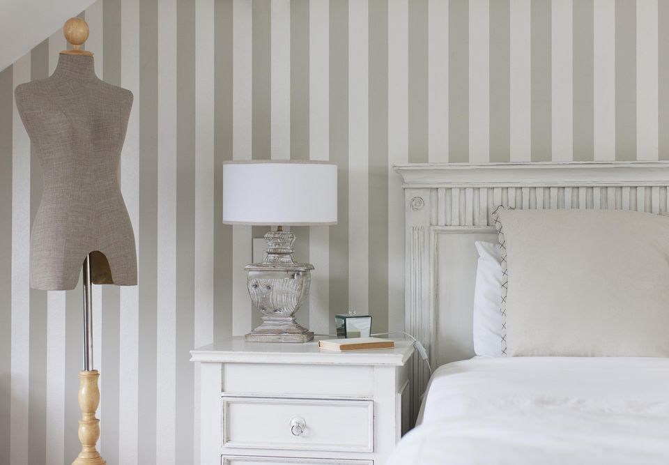 gray and white color bedroom