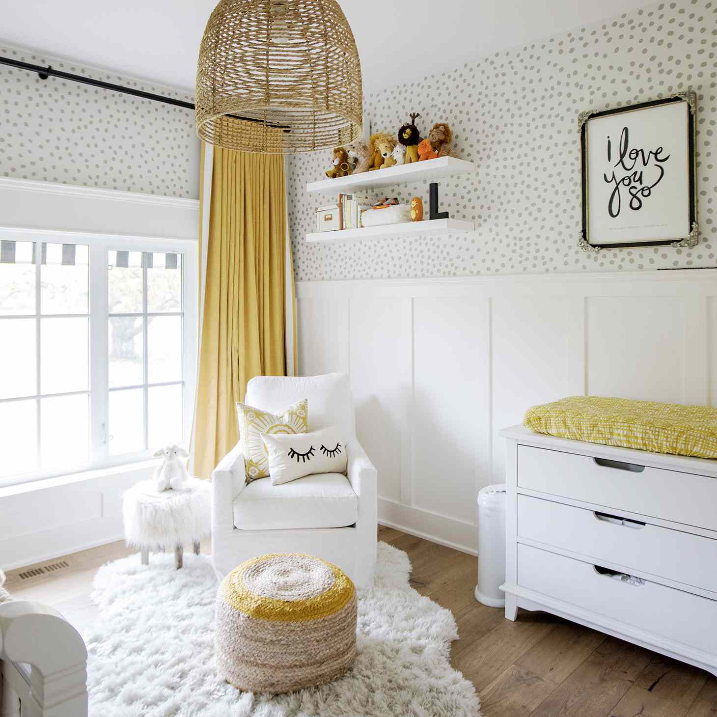 Neutral nursery with grey and mustard yellow accents