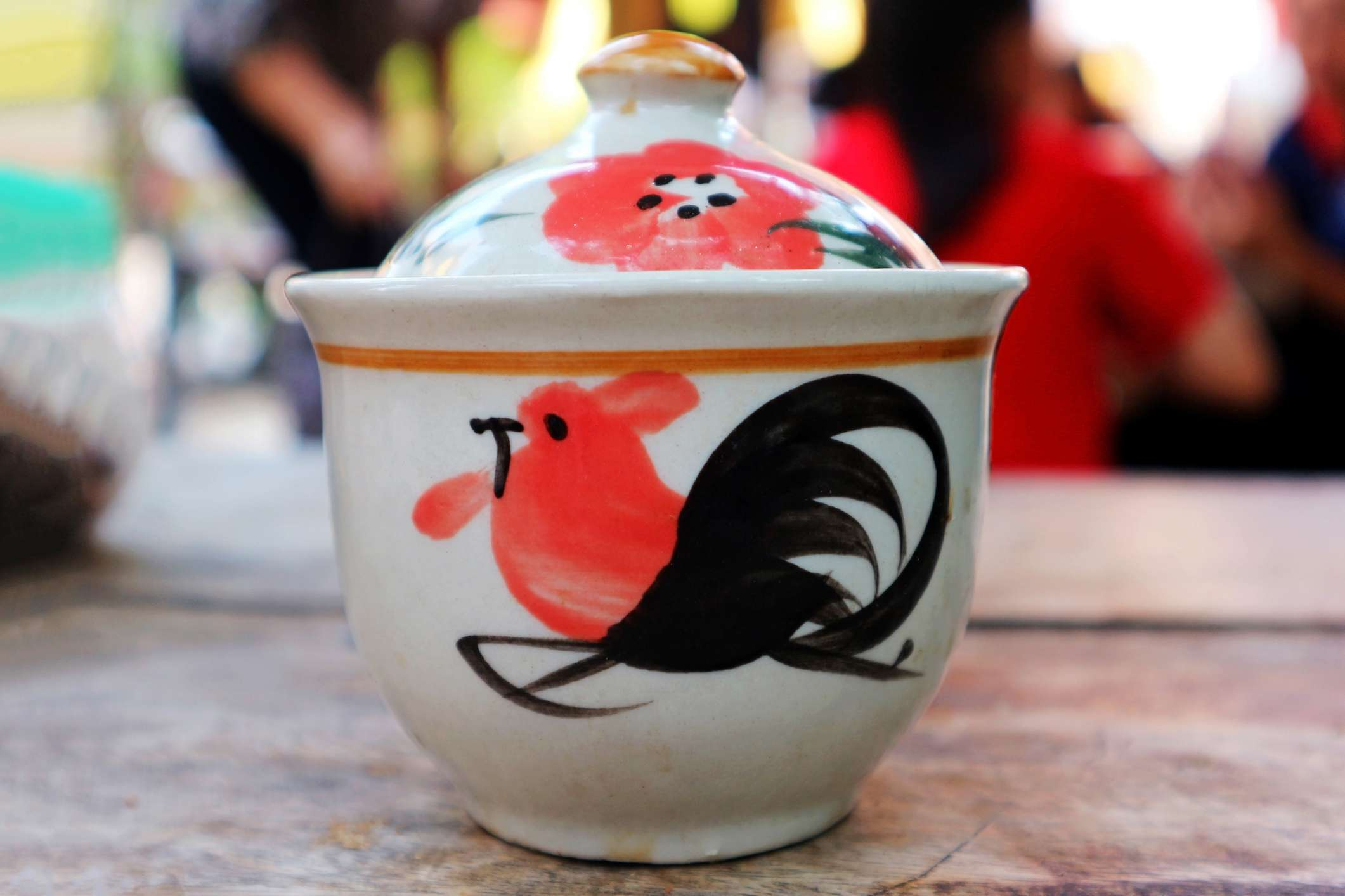 Traditional Northern Thai Rooster Ceramic Bowl