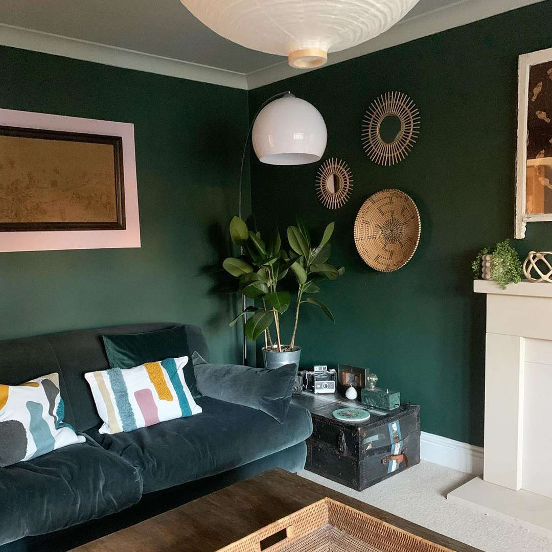 Living room with green paint