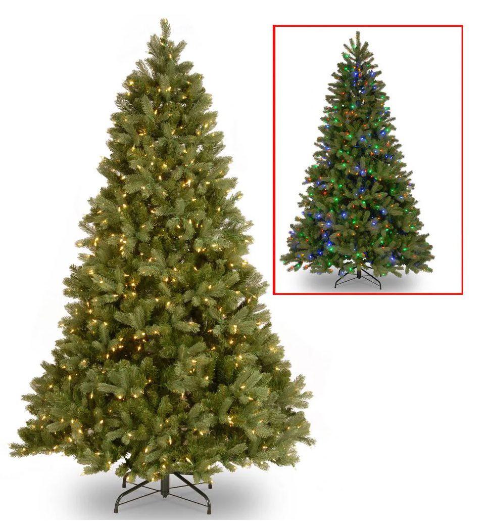 Downswept Douglas Fir Artificial Christmas Tree with Dual Color LED Lights