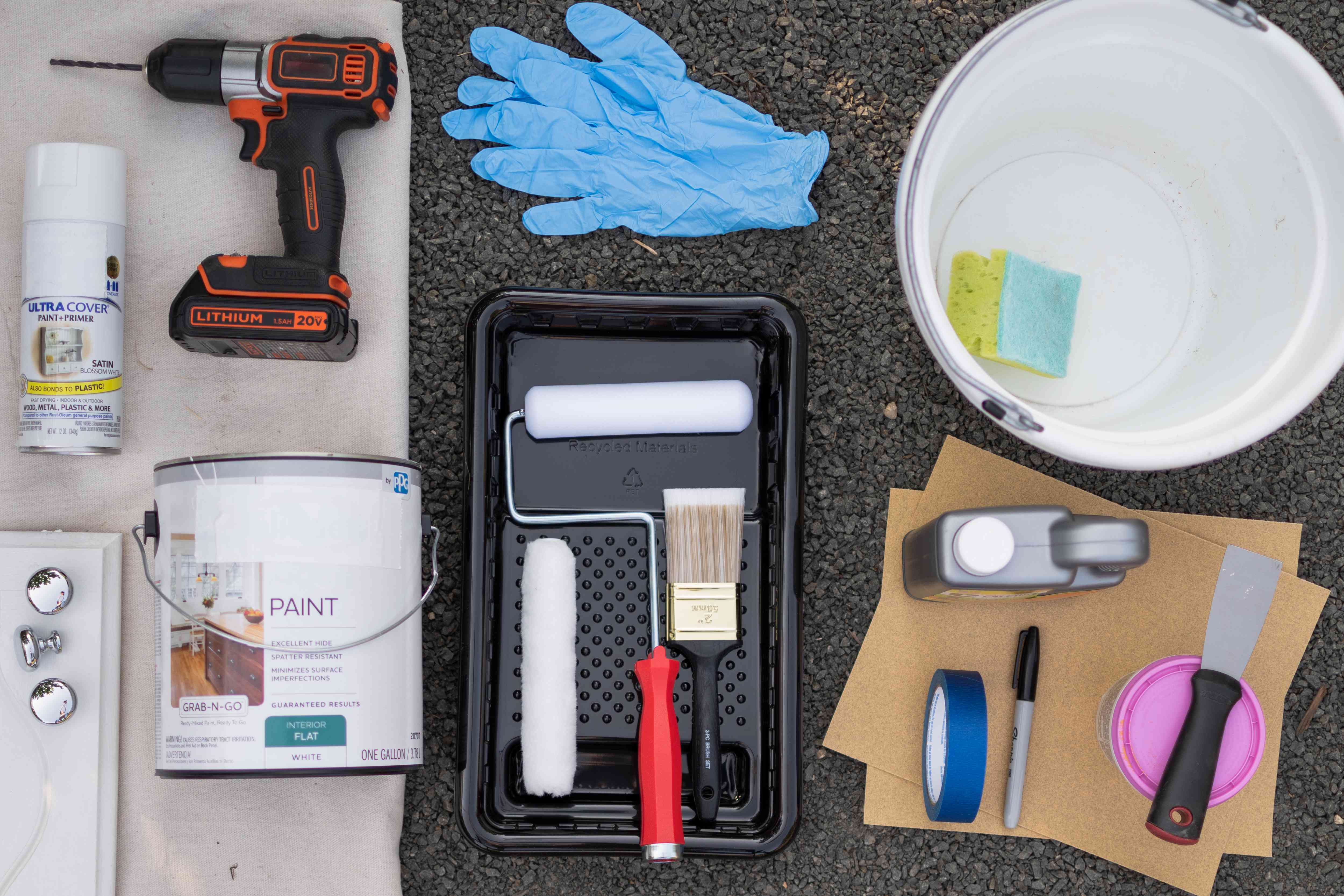 Materials and tools to paint bathroom cabinets