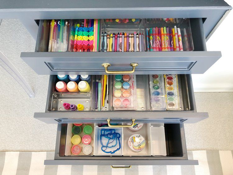 drawer space used for craft storage