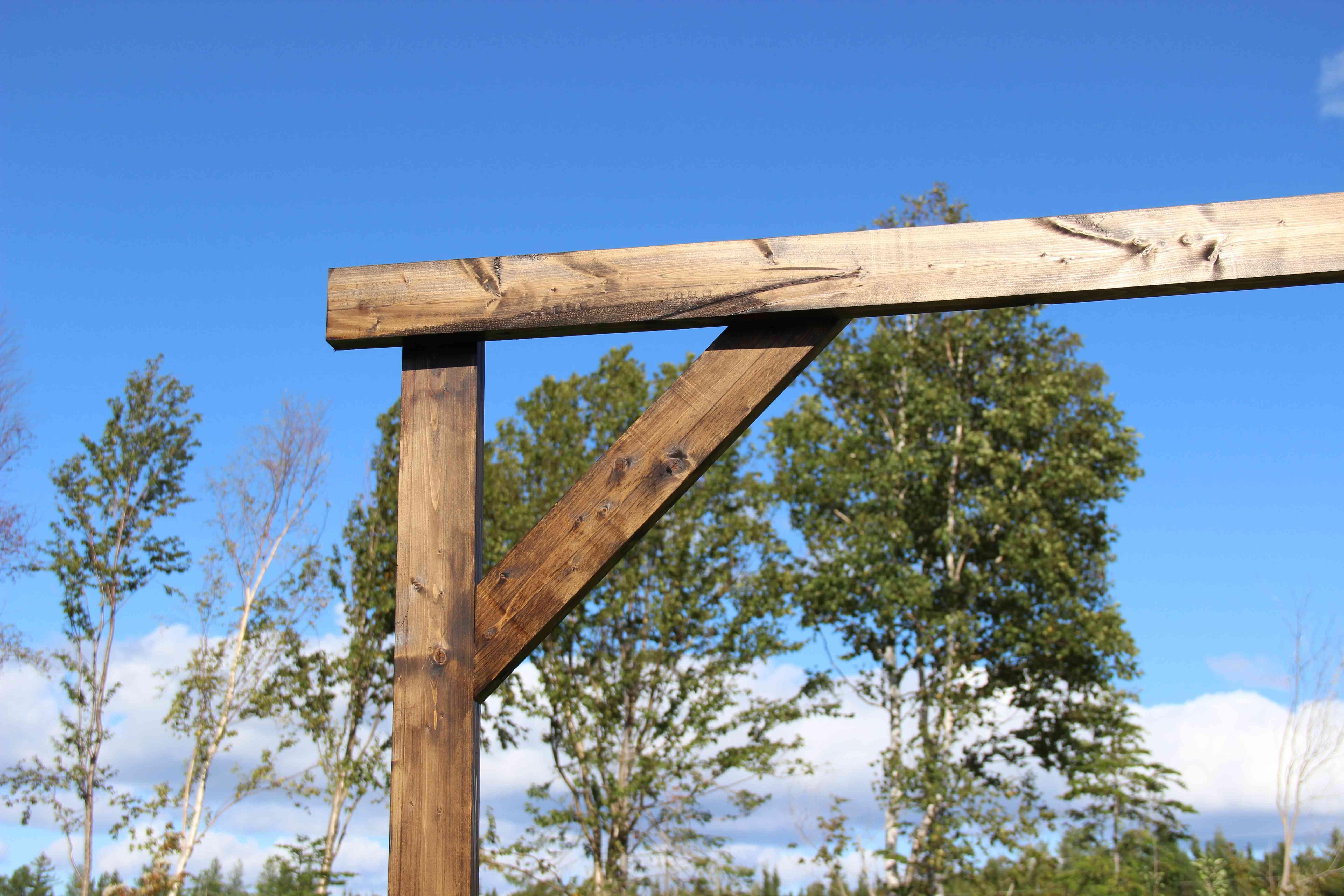 A close-up of a wooden arbor