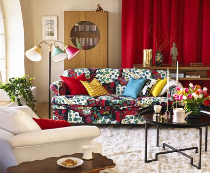brightly colored living room