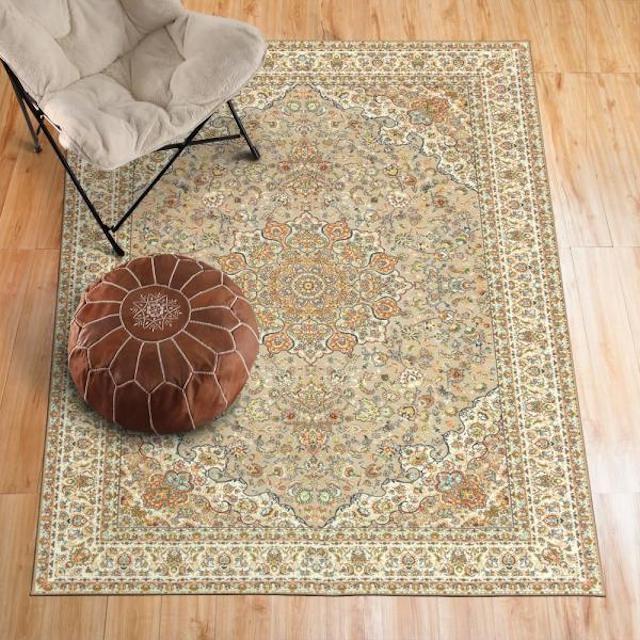 My Magic Carpet Kenya Beige Medallion Washable Area Rug