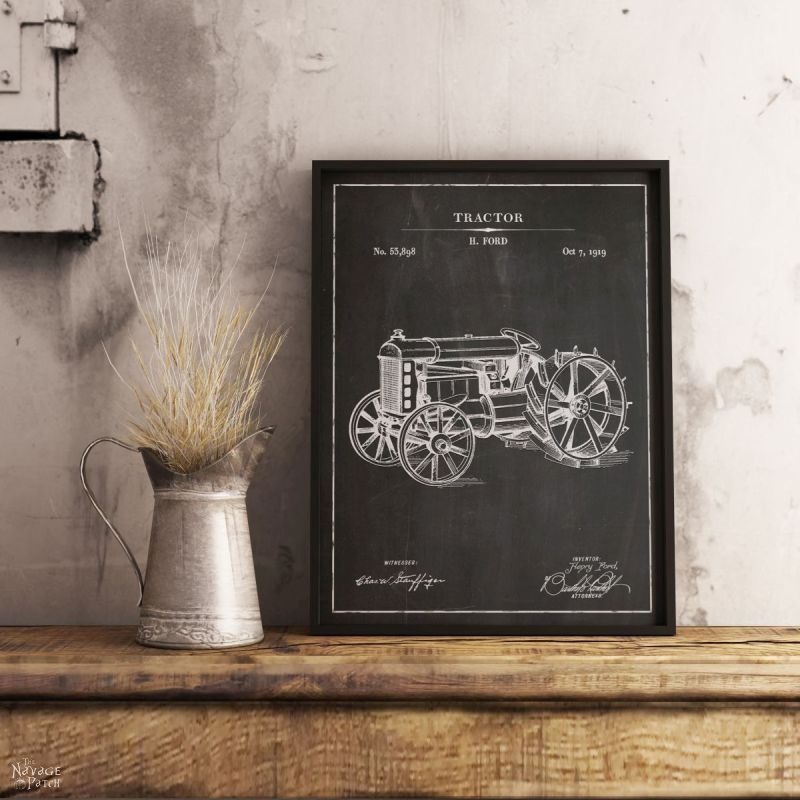 A blueprint of a tractor in a frame